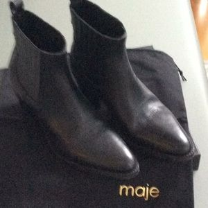 MAJE Western Style Black Leather Booties